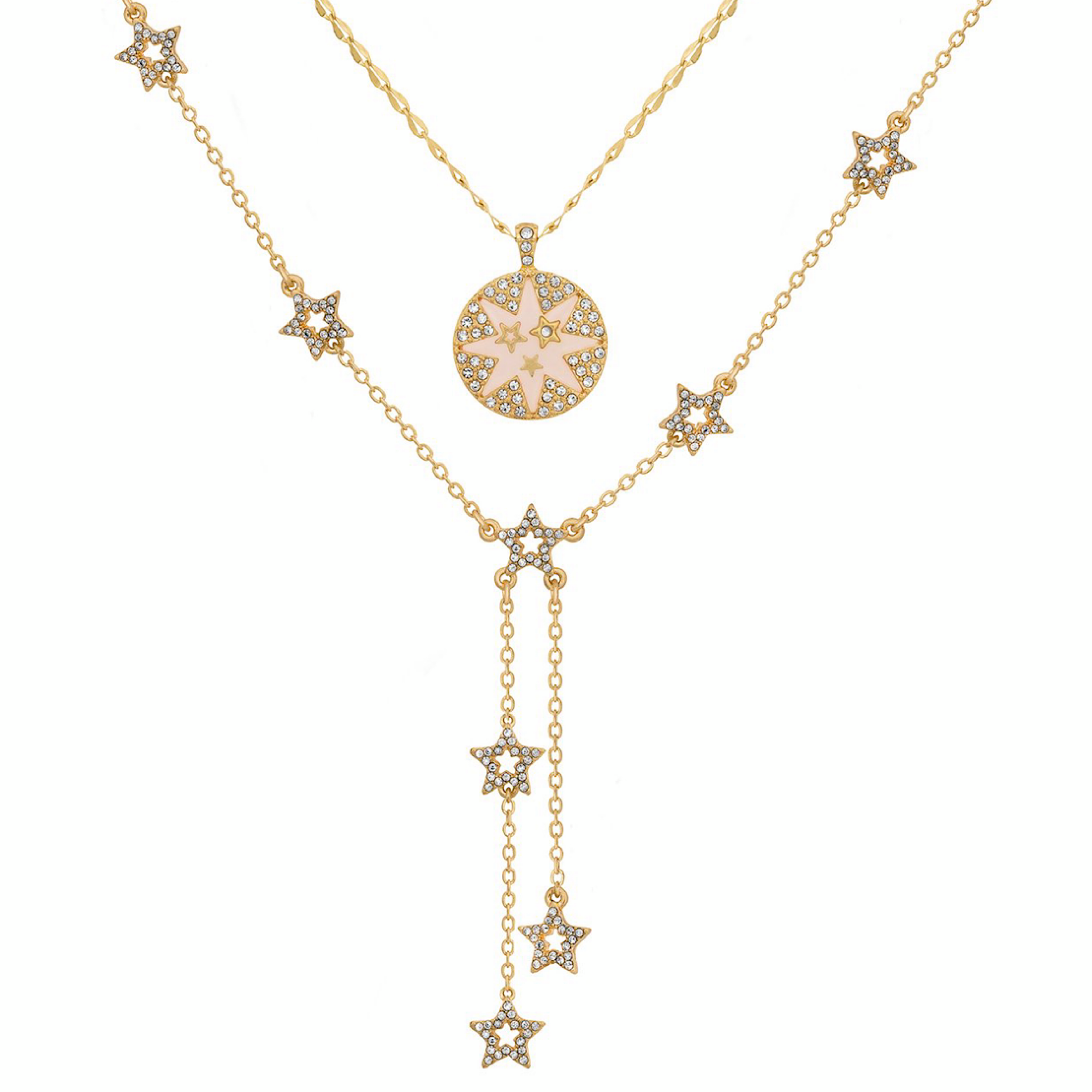 Double Row Star Necklace in Gold