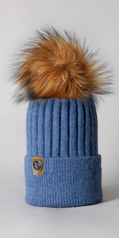 LUXY Faux Fur Cable Hat in Blue