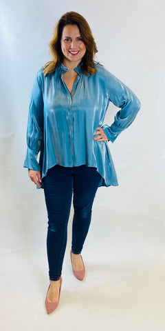 Shimmer Hi Low Blouse - TheSecretCloset.Boutique