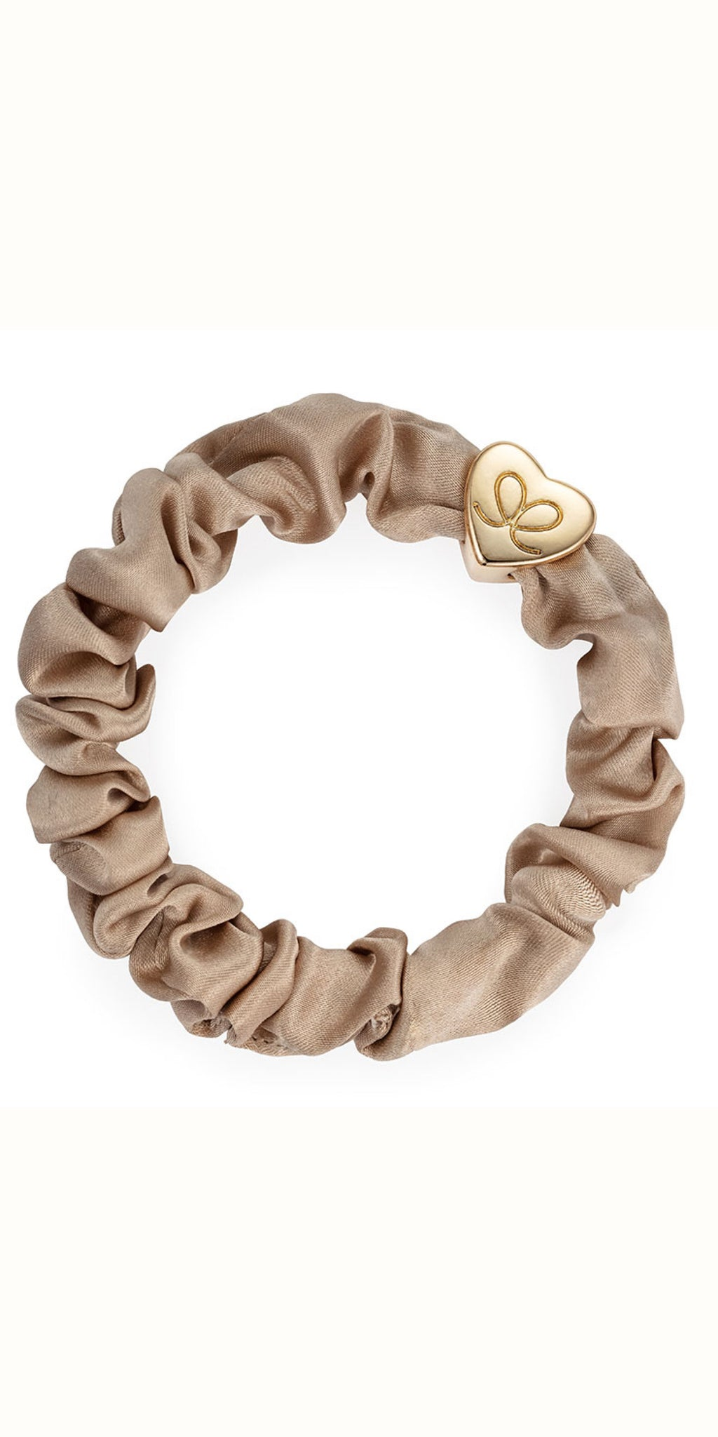 By Eloise Gold Heart on Sand Silk Scrunchie
