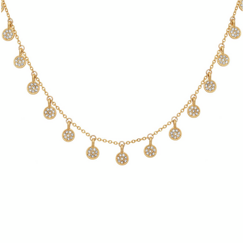 Boho Pave Disc Necklace in Gold (Pre-Order)