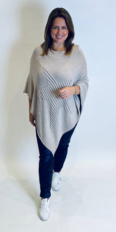 Star Embossed Knit Poncho