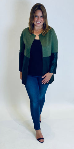 Suede & Leather Look Jacket