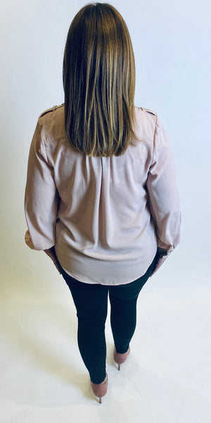 Rinascimento Military Wrap Front Blouse in Pink