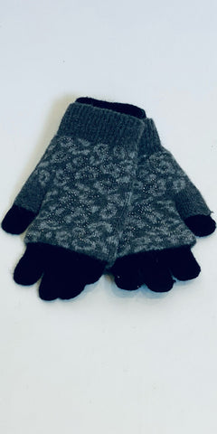 Sparkly Leopard Gloves in Grey