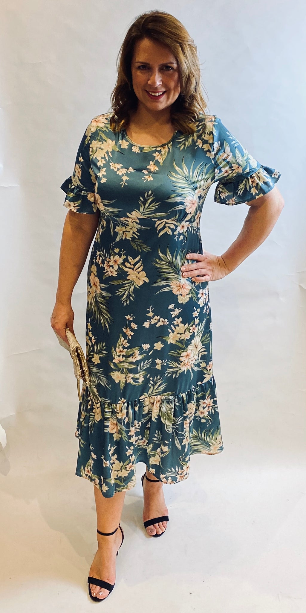 Teal Floral Satin Dress - TheSecretCloset.Boutique