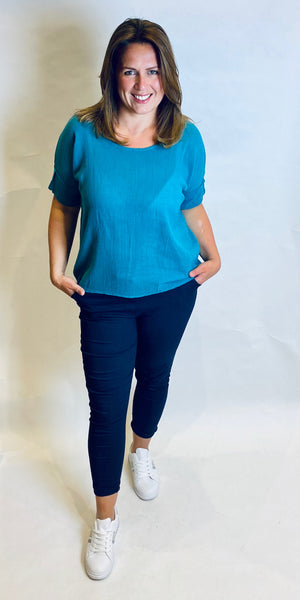 Linen Roll Sleeve Top