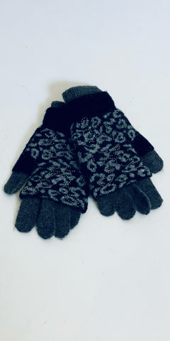 Sparkly Leopard Gloves in Black