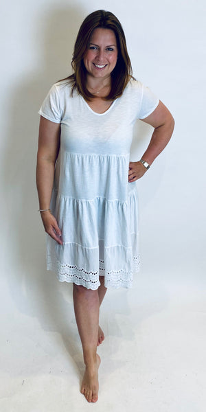 Broderie Trim Tiered Dress