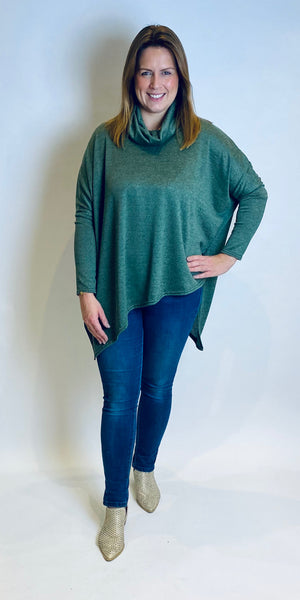 Melange Cowl Neck Asymmetric Top