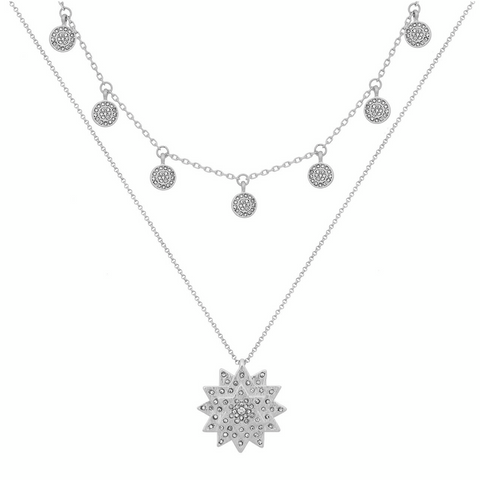 Layered Star & Boho Coin Necklace in Silver