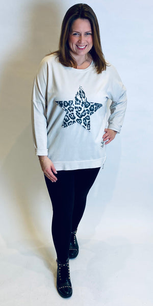 Red Label Leopard Star Zip Top