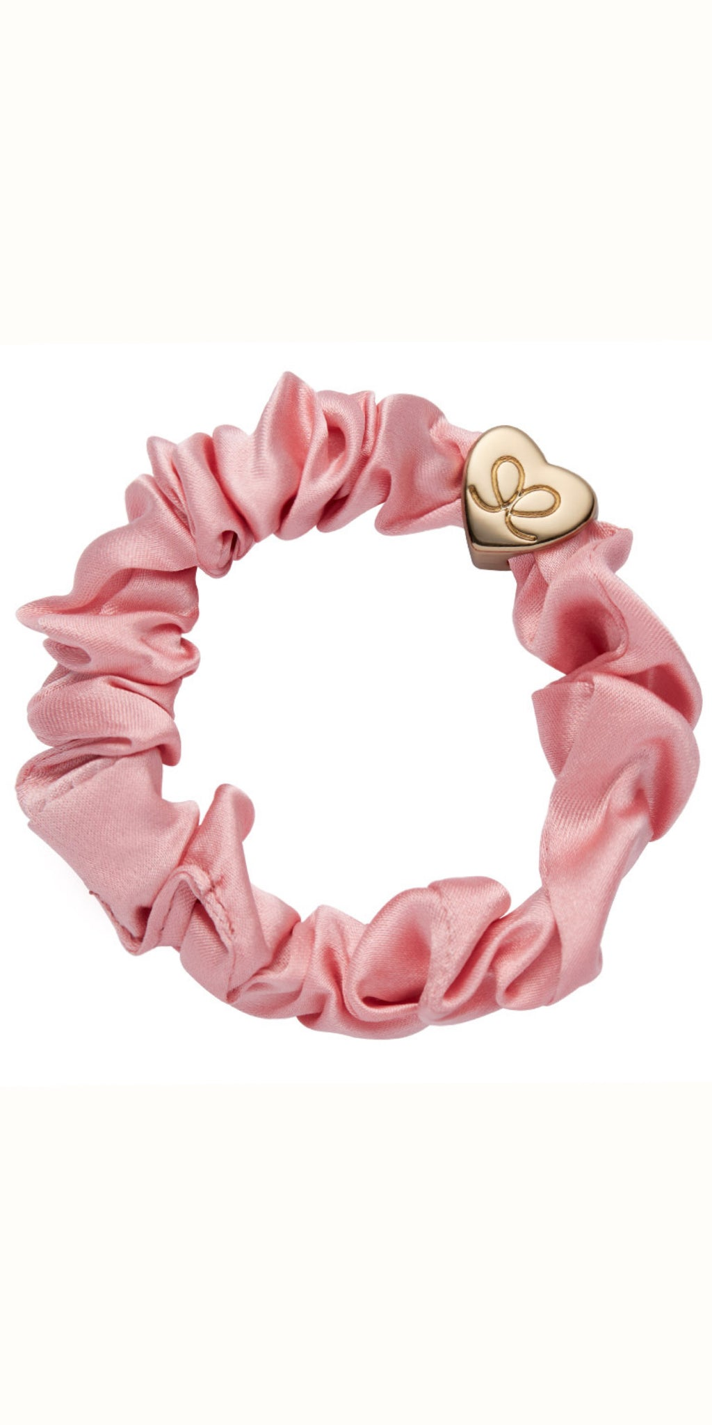 By Eloise Gold Heart on Rose Tan Silk Scrunchie