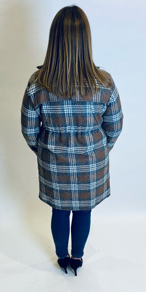 Drawstring Waisted Check Coat