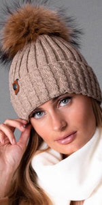 LUXY Faux Fur Cable Hat in Oatmeal