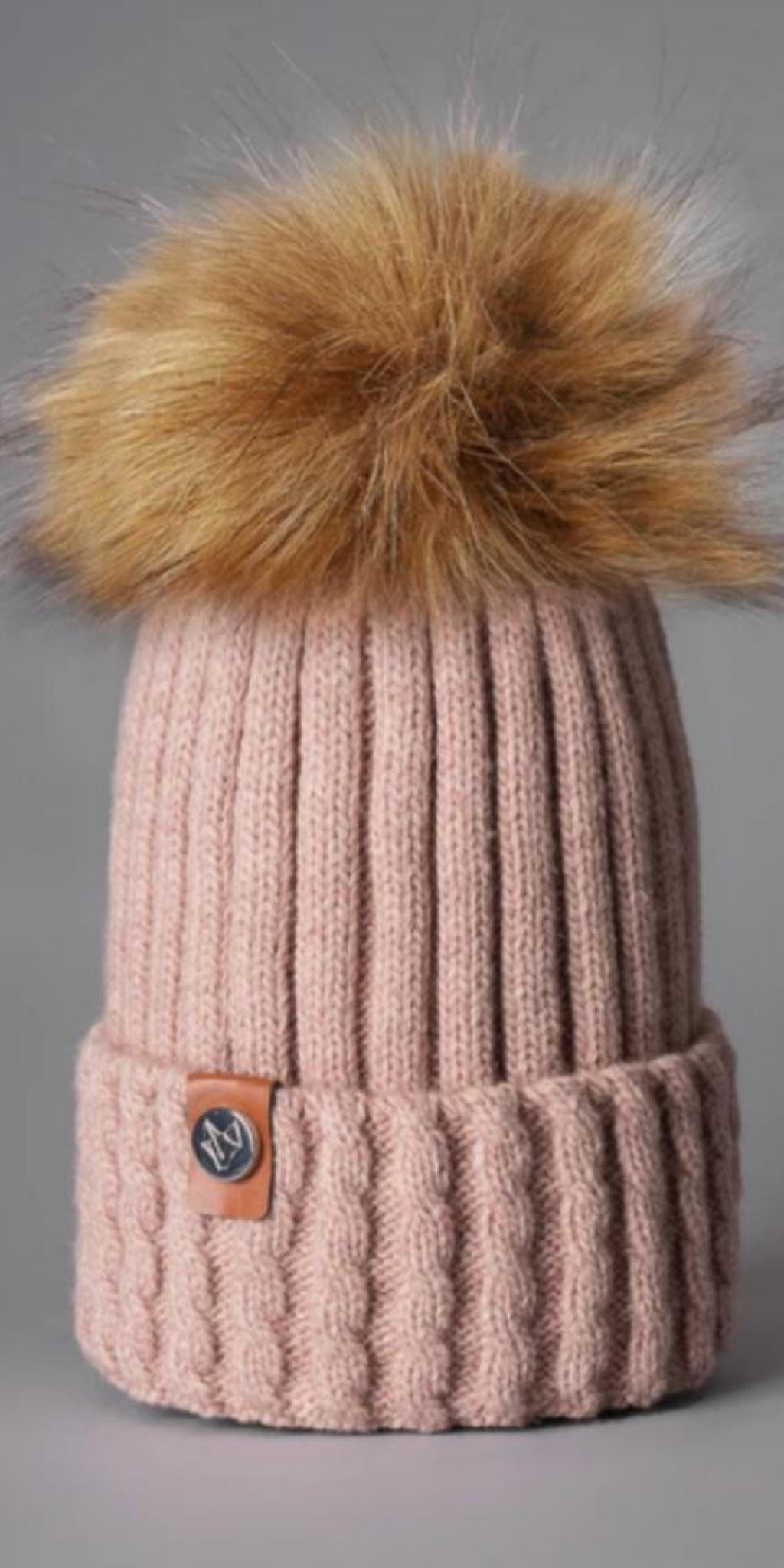 LUXY Faux Fur Cable Hat in Blush