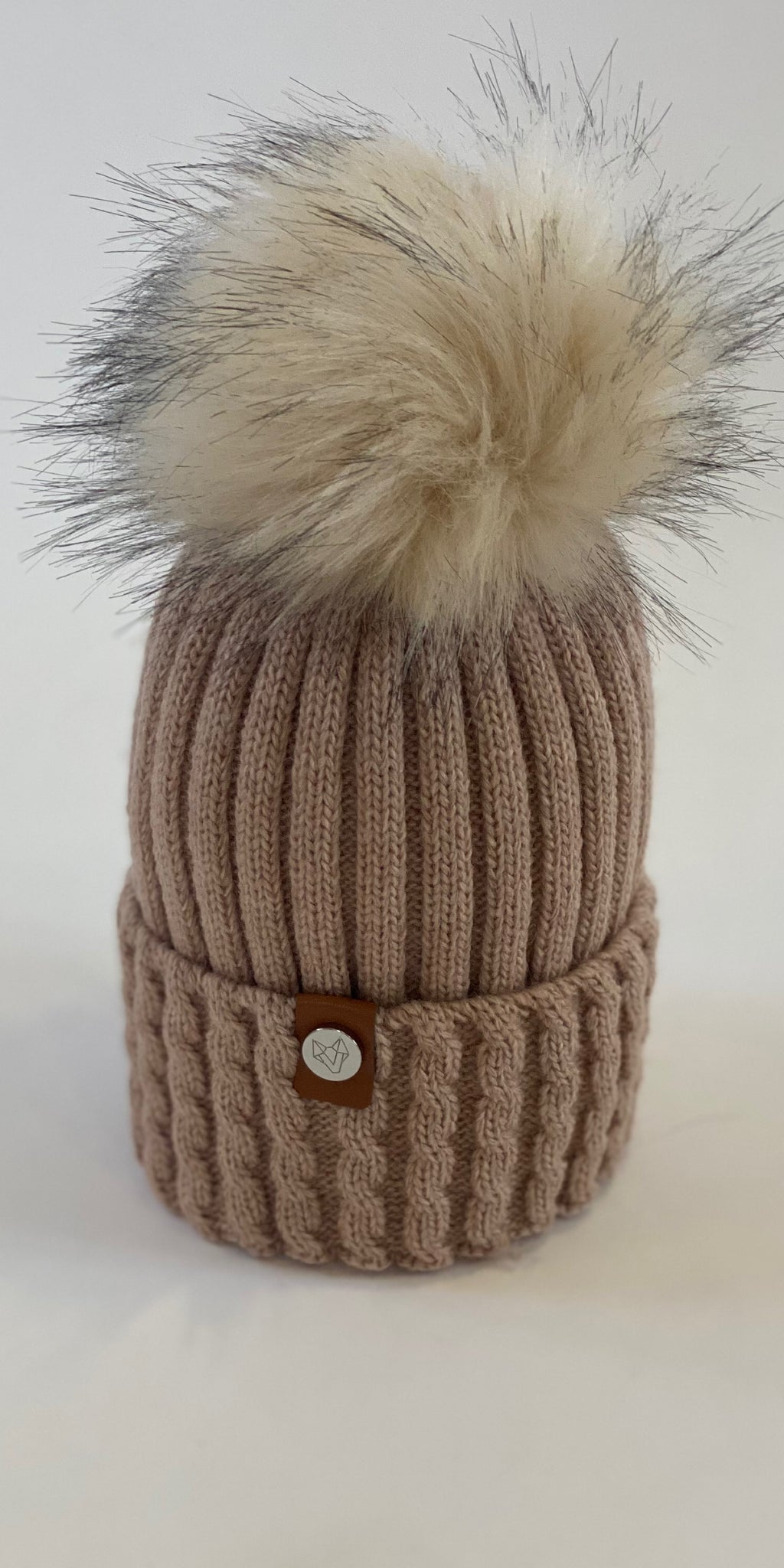 LUXY Faux Fur Cable Hat in Nude