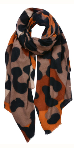 Cosy Vibrant Animal Scarf in Brown