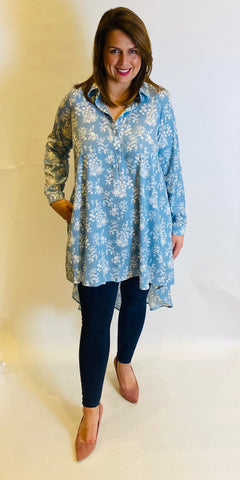 Pretty Floral Hi Low Shirt - TheSecretCloset.Boutique