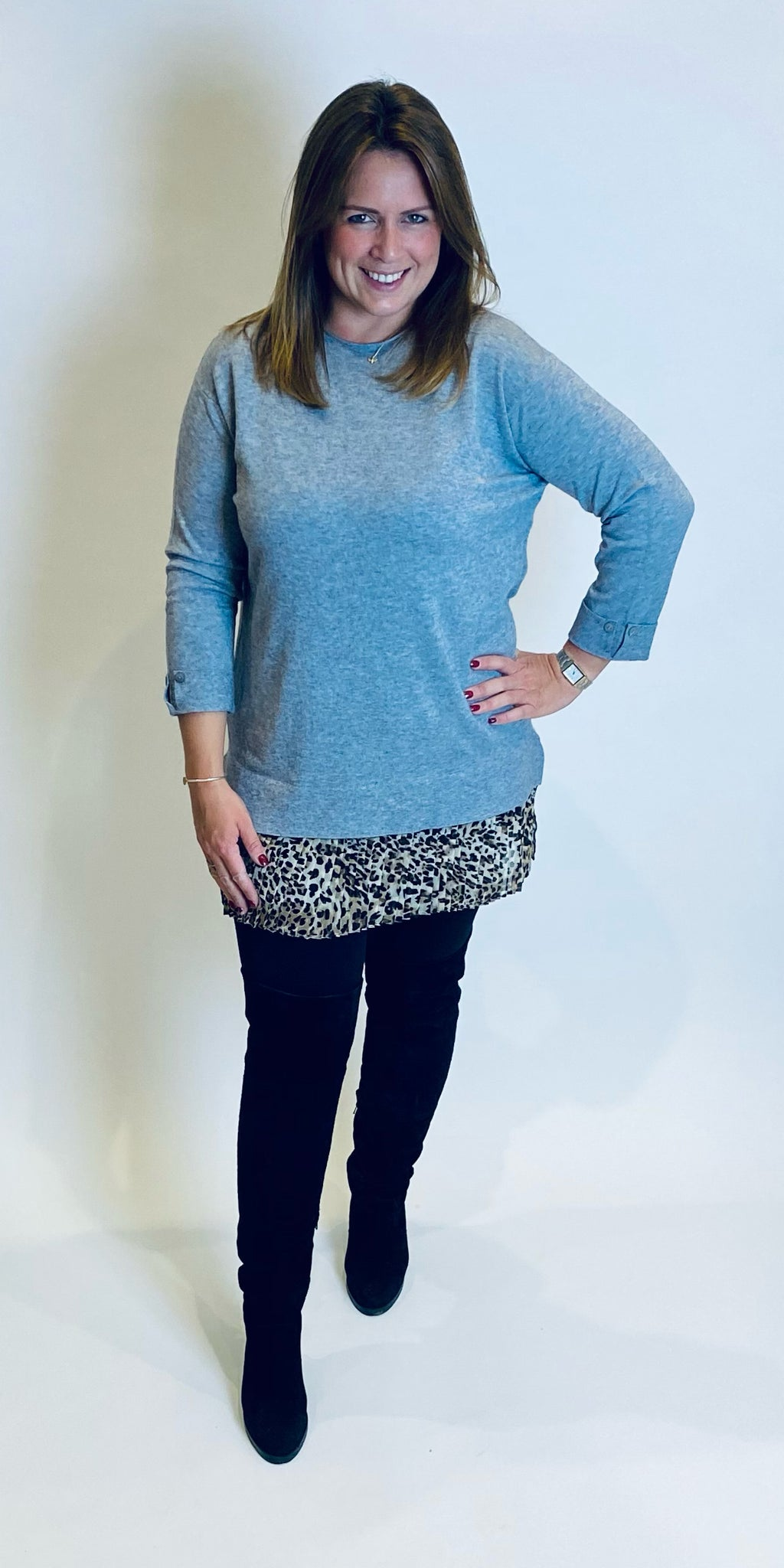 Grey Animal Frill Knit