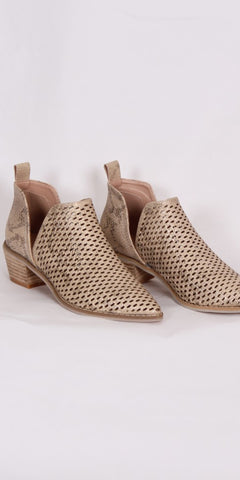SMF Leather Lattice Shoe Boot in Gold