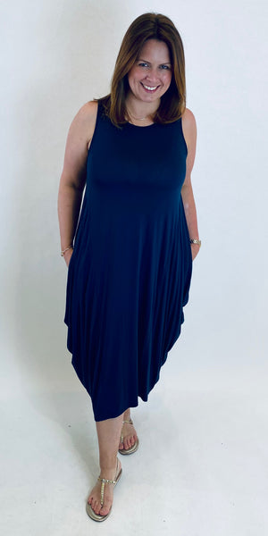 Sleeveless Jersey Parachute Dress