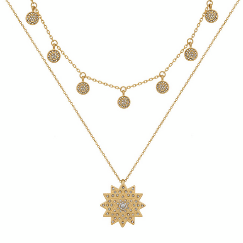 Layered Star & Boho Coin Necklace in Gold