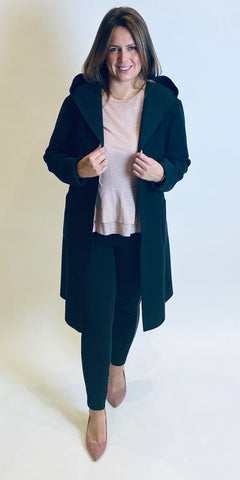 Rinascimento Black Hooded Wrap Coat