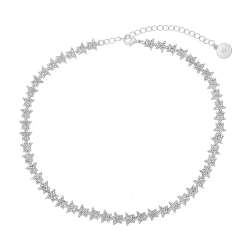 Crystal Star Tennis Necklace in Silver