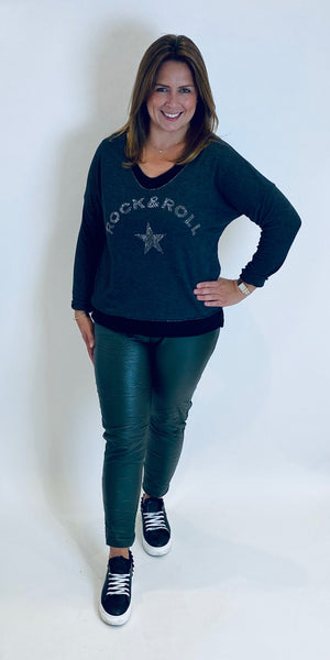 Rhinestone Rock & Roll Layered Fine Knit