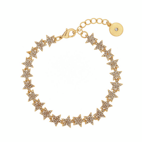 Crystal Star Tennis Bracelet in Gold