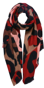 Cosy Vibrant Animal Scarf in Red