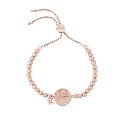 Sunray 'Be Kind' Affirmation Friendship Bracelet in Rose Gold