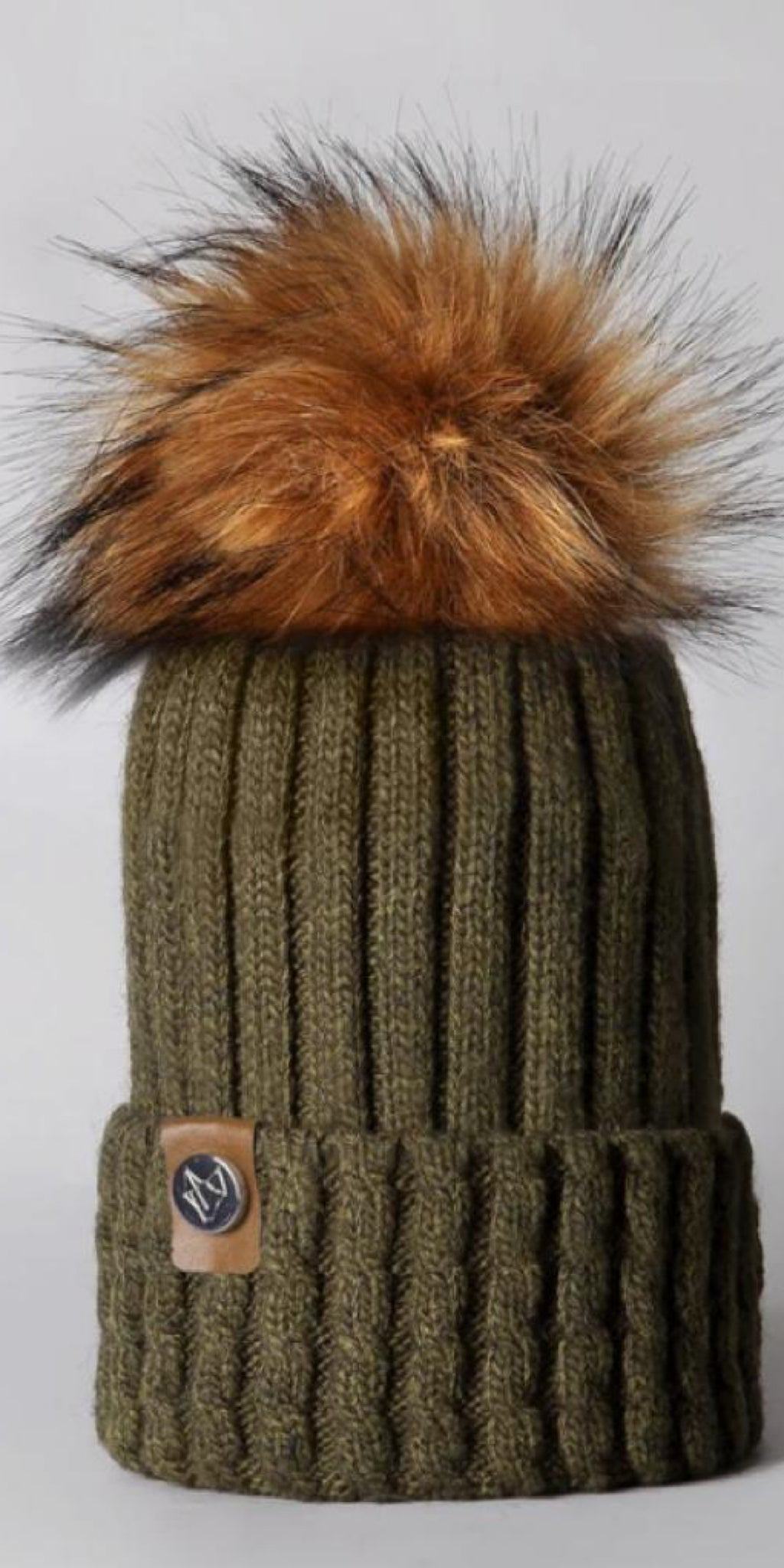 LUXY Faux Fur Cable Hat in Khaki