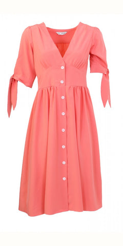 SMF Button Down Dress in Coral