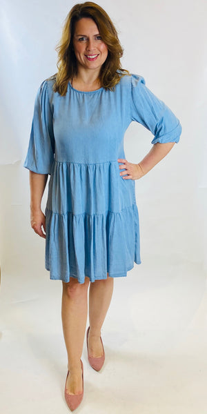 Tiered Denim Dress - TheSecretCloset.Boutique