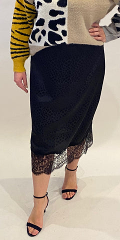 Black Satin Animal Jacquard Skirt - TheSecretCloset.Boutique