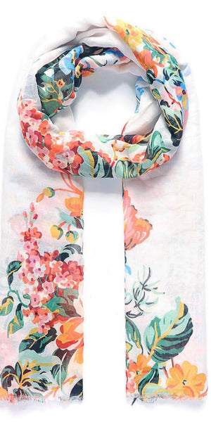 White floral bouquet scarf
