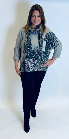 Animal & Lace Print Scarf Top