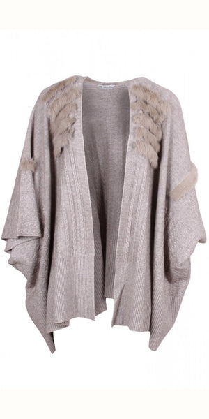 smf Faux Fur Trim Cape