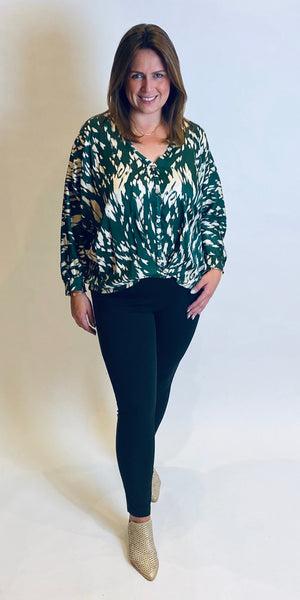 Silky Printed Batwing Blouse