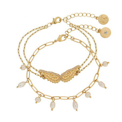 Guardian Angel Double Row Bracelet in Gold