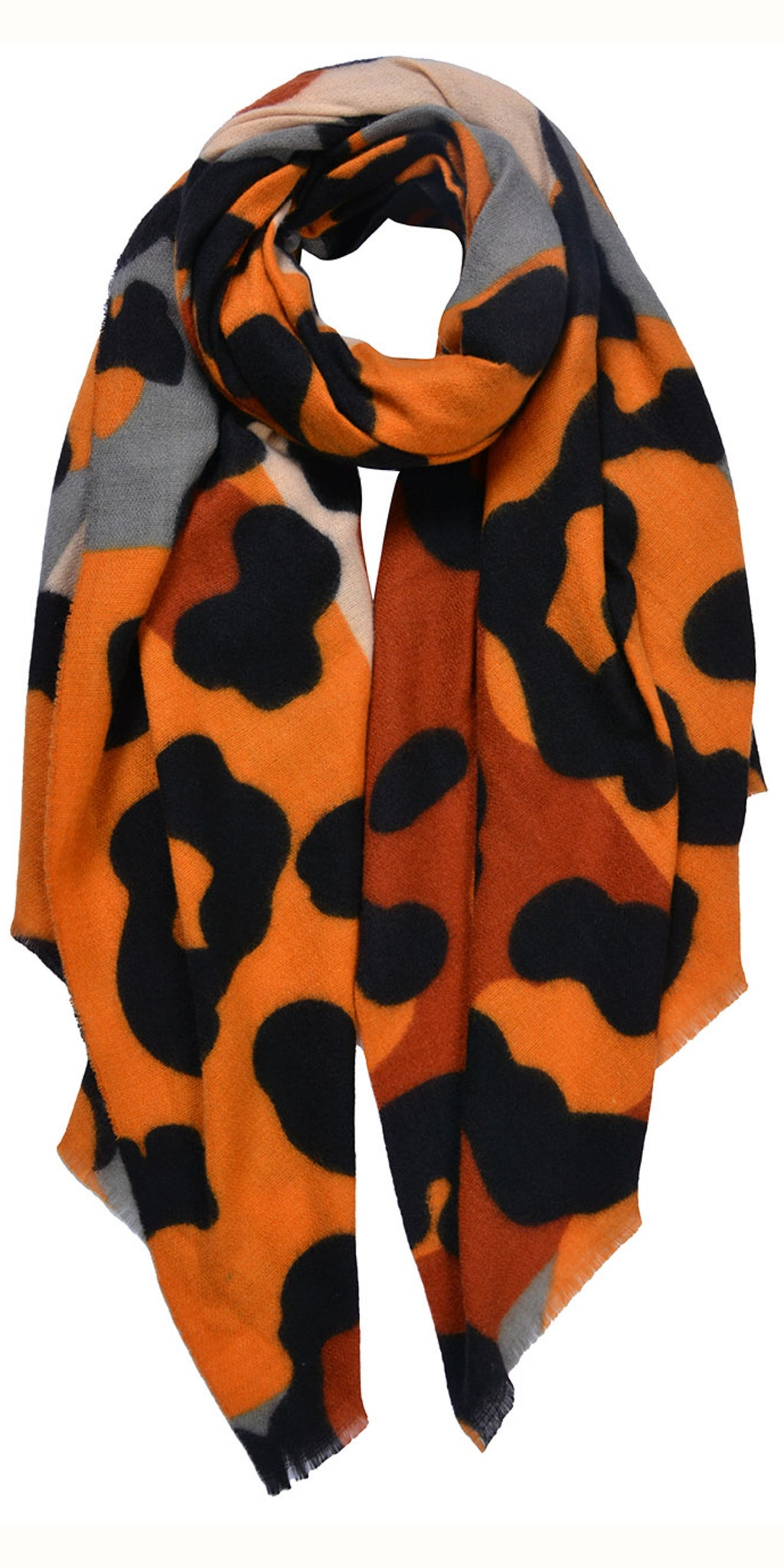 Cosy Vibrant Animal Scarf in Orange