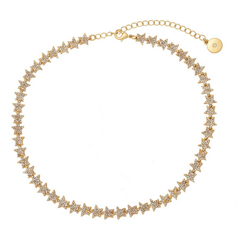 Crystal Stars Tennis Necklace in Gold