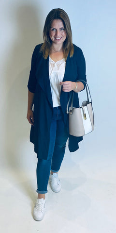 Navy Lightweight Duster Jacket