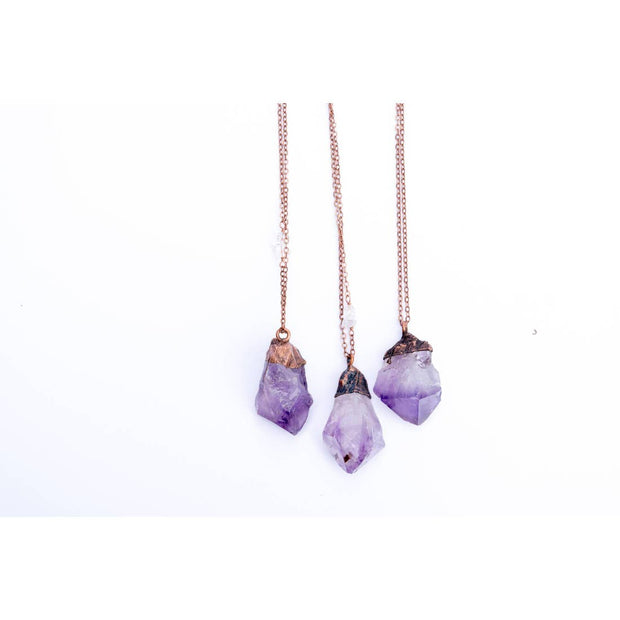Copper Amethyst Crystal Necklace