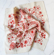 FLOWERS + HANDS PRINTED TEA TOWEL/ ALTAR CLOTH