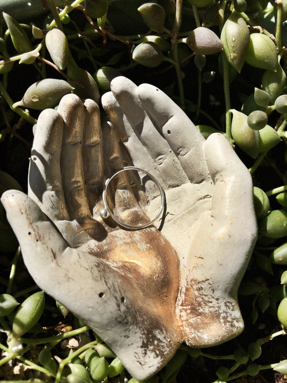 Concrete Hand Offering Dish