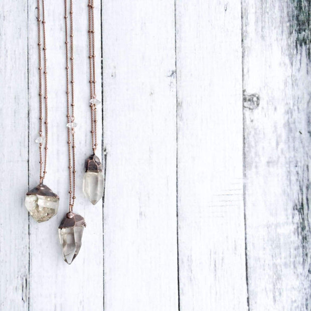 RAW CLEAR QUARTZ CRYSTAL NECKLACE
