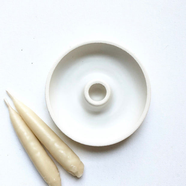 Stoneware Single Taper Candle Holder